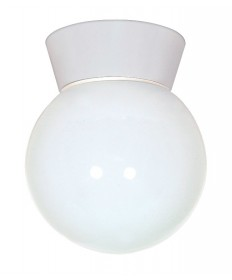 Nuvo Lighting 77/532 1 Light 8 inch Utility, Ceiling Mount With White Glass Globe