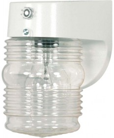 Nuvo Lighting 77/862 1 Light 8 inch Porch, Wall Clear Mason Jar W Photoelectric Sensor