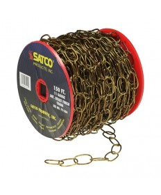 Satco 79/204 Antique Brass 11 Gauge Chain 50 Yds. -150 Ft. Reel