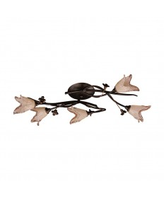 ELK Lighting 7956/5 Fioritura 5 Light Flush Mount in Aged Bronze and Hand Blown Tulip Glass