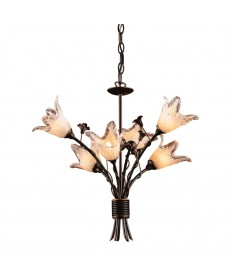 ELK Lighting 7958/6 Fioritura 6 Light Chandelier in Aged Bronze and Hand Blown Tulip Glass