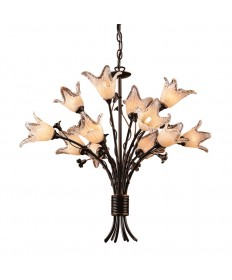 ELK Lighting 7959/8+4 Fioritura 12 Light Chandelier in Aged Bronze and Hand Blown Tulip Glass