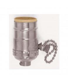 Satco 80/1099 Satco Nickel Aluminum On Off Pull Chain Medium Base lamp Socket