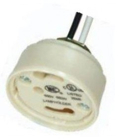 """Satco 80/1935 Satco 1/8IP Bushing, Height: 3/4"""", 24 inch 18AWM 105 Degree Leads Electronic Socket Cap with Quick Wire Terminals CFL GU24 4-Pin"""