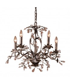ELK Lighting 8053/5 Circeo 5 Light Chandelier in Deep Rust and Crystal Droplets