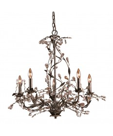 ELK Lighting 8054/5 Circeo 5 Light Chandelier in Deep Rust and Crystal Droplets