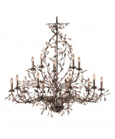 ELK Lighting 8056/10+5 Circeo 15 Light Chandelier in Deep Rust and Crystal Droplets