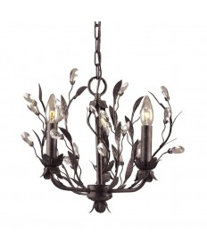 ELK Lighting 8058/3 Circeo 3 Light Chandelier in Deep Rust and Crystal Droplets