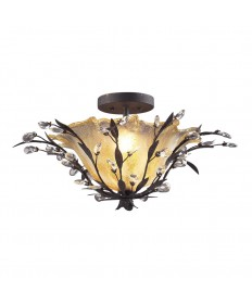 ELK Lighting 8059/2 Circeo 2 Light Semi Flush in Deep Rust and Crystal Droplets