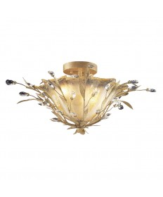 ELK Lighting 8069/2 Circeo Vetro 2 Light Semi Flush in Russet Beige and Crystal Droplets