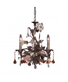 ELK Lighting 85001 Cristallo Fiore 3 Light Chandelier in Deep Rust and Hand Blown Florets