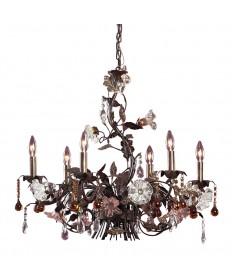ELK Lighting 85002 Cristallo Fiore 6 Light Chandelier in Deep Rust and Hand Blown Florets