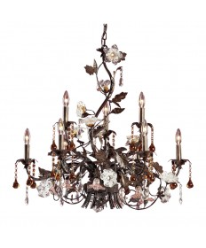 ELK Lighting 85003 Cristallo Fiore 9 Light Chandelier in Deep Rust and Hand Blown Florets