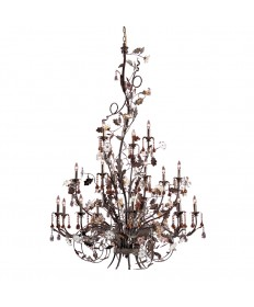 ELK Lighting 85004 Cristallo Fiore 18 Light Chandelier in Deep Rust and Hand Blown Florets