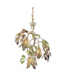 ELK Lighting 86051 Huarco 3 Light Chandelier in Seashell and Amber Glass