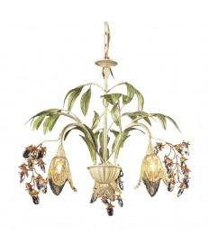 ELK Lighting 86052 Huarco 3 Light Chandelier in Seashell and Amber Glass