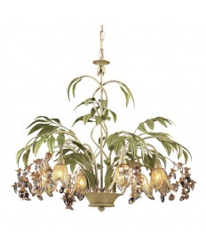 ELK Lighting 86053 Huarco 6 Light Chandelier in Seashell and Amber Glass