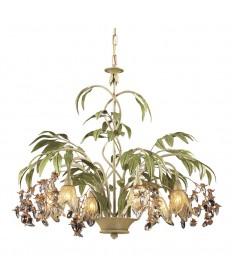 ELK Lighting 86053 Huarco 6 Light Chandelier in Seashell and Amber Glass