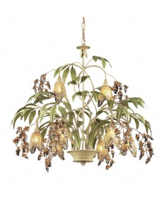 ELK Lighting 86054 Huarco 8 Light Chandelier in Seashell and Amber Glass