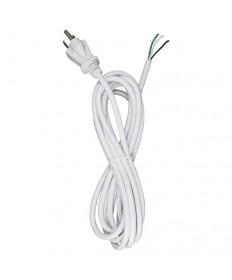 Satco 90/2413 Heavy Duty Cord Set 3 Prong Molded Plug 10FT White