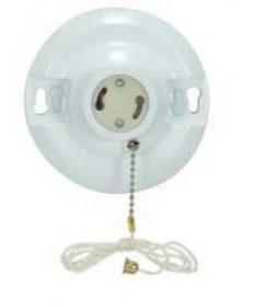 Satco 90/2468 Satco White Phenolic GU24 Base Fluorescent On-Off Pull-Chain Ceiling Receptacle