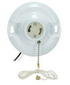 Satco White Phenolic GU24 Base Fluorescent On-Off Pull-Chain Ceiling Receptacle