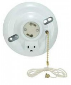 Satco 90/2483 Satco White Phenolic GU24 Base Fluorescent On-Off Pull-Chain Ceiling Receptacle