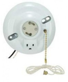 Satco 90/2484 Satco White Phenolic GU24 Base Fluorescent On-Off Pull-Chain Ceiling Receptacle