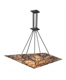 ELK Lighting 9010/9 Imperial Granite 9 Light Pendant in Antique Brass and Veined Stone