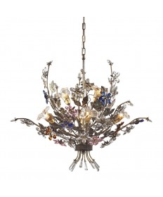 ELK Lighting 9107/4+2 Brillare 6 Light Chandelier in Bronzed Rust and Multi Colored Crystal Florets