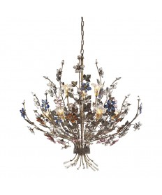 ELK Lighting 9108/6+3 Brillare 9 Light Chandelier in Bronzed Rust and Multi Colored Crystal Florets