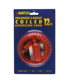 Satco 93/174 Satco 93-174 Red 12FT Coiled (Extended) Extension Cord