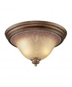 ELK Lighting 9319/2 Lawrenceville 2 Light Flush Mount in Mocha and Antique Amber Glass
