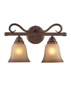 ELK Lighting 9321/2 Lawrenceville 2 Light Vanity in Mocha and Antique Amber Glass