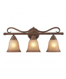 ELK Lighting 9322/3 Lawrenceville 3 Light Vanity in Mocha and Antique Amber Glass