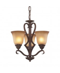 ELK Lighting 9326/3 Lawrenceville 3 Light Chandelier in Mocha and Antique Amber Glass