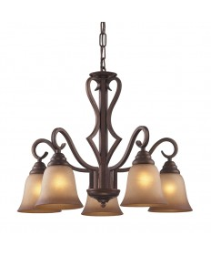 ELK Lighting 9327/5 Lawrenceville 5 Light Chandelier in Mocha and Antique Amber Glass