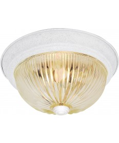 "Nuvo Lighting SF76/192 2 Light 13"" Flush Mount Clear Ribbed Glass"