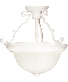 "Nuvo Lighting SF76/435 2 Light 13"" Semi-Flush Frosted Melon Glass"