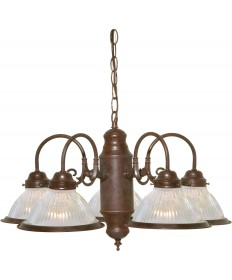"Nuvo Lighting SF76/445 5 Light 22"" Chandelier With Clear Ribbed Shades"