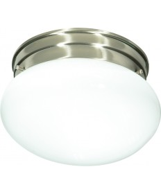 "Nuvo Lighting SF76/601 1 Light 8"" Flush Mount Small White Mushroom"