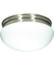 "Nuvo Lighting SF76/605 2 Light 12"" Flush Mount Large White Mushroom"