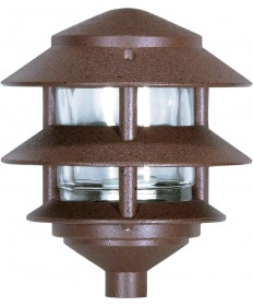 "Nuvo SF76/632 8"" Pathway Light 1 Light 2 Louver Pagoda Garden Small Hood Old Bronze"