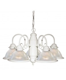 "Nuvo Lighting SF76/693 5 Light 22"" Chandelier With Frosted Ribbed"