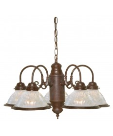 "Nuvo Lighting SF76/694 5 Light 22"" Chandelier With Frosted Ribbed"