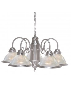 "Nuvo Lighting SF76/695 5 Light 22"" Chandelier With Frosted Ribbed"