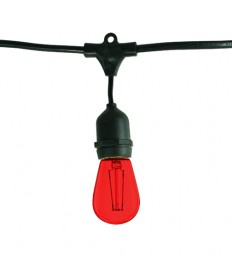 Bulbrite 860224 | Outdoor String Light w/Red Incandescent 11S14 Bulbs