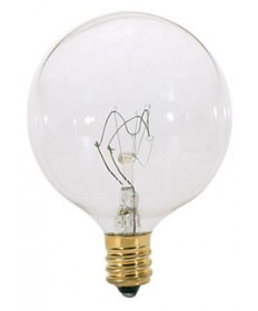 Satco S3822 Satco 25G16.5 25 Watt 120 Volt G16.5 Candelabra Base Clear Globe Decorative Light Bulb