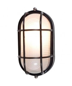 Access 20290-BL/FST Nauticus Collection Bulkhead Outdoor Ceiling & Wall Sconce Black Flush Mount Ribbed Frosted Glass