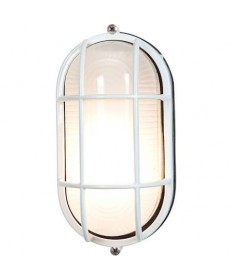 Access 20290-WH/FST Nauticus Collection Bulkhead Outdoor Ceiling & Wall Sconce White Flush Mount Ribbed Frosted Glass